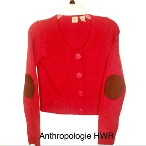 Anthropologie HWR Monogram S Angora Wool Cardigan